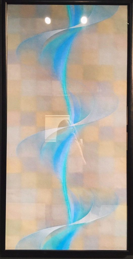 """Фотография кинетическое искусство Франциско Инфанте-Арана, в которой отражается идея бесконечности. На работе изображена спираль """"Слабый побег"""". Фотография сделана в 1985 году в смешанной технике. Художник использовал темперу, гуашь, тушь, перо."""