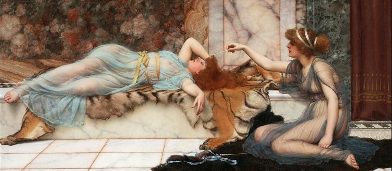 """Картина Годварда Джона Уильямса """"Озорница и спящая"""" (1895)"""