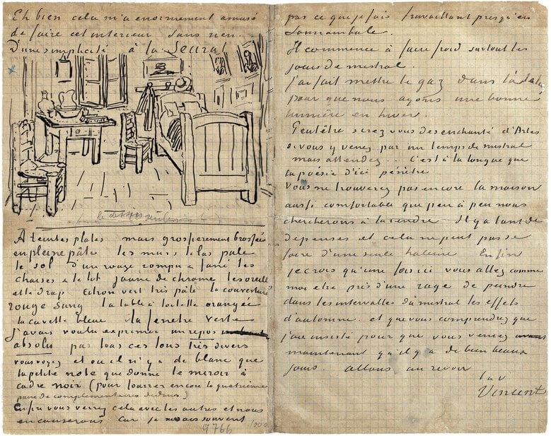 Письмо к брату Тео с рисунком спальня Ван Гога